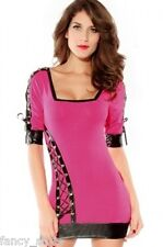 Red or Pink Slinky Short Sleeve Mini Midi Dress Lace Up Party Fashion NEW CHEAP