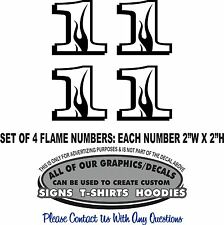 1 Flame Number One Sticker Decal Set of 4: 4 RC Laptop Car Window Kart Racing RV