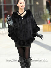 100% Real Knitted Mink Fur Cape Stole Scarf Shawl Coat Hoody Poncho Fashion