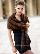 100% Real Knitted Mink Fur Scarf Cape Stole Shawl Coat Wrap Fashion Evening New