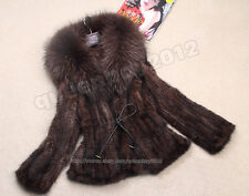 100% Real Knitted Mink Fur Coat Outwear Jacket Big Raccoon Collar Fashion Spring