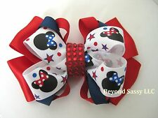 July 4th Patriotic Star Minnie Mouse Bling Hair Bow Clip Barrette Red White Blue