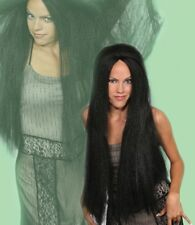 "MORTISHA BLACK WHITE BLONDE WOMAN LONG 28"" STRAIGHT HAIR WITCH COSTUME WIG"