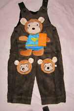 Baby toddler Brown Cordruoy  Dungarees  Teddy Bear new Boys Girls Pants