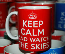 KEEP CALM AND WATCH THE SKIES UFO ALIENS CONSPIRACY X FILES CARRY ON GIFT MUG