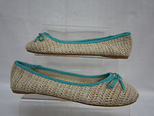 LADIES SPOT ON BEIGE/TURQUOISE FLAT SHOE F8731