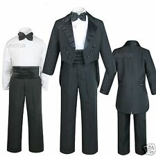 New Boy Black Wedding Party Formal Tuxedo Suit S M L XL 2T 3T 4T 5 6 7 8 10-20