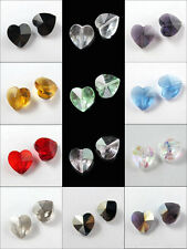 6Pcs Glass Crystal Heart Spacer Bead 12Colors-1 14mm