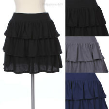 Cute Solid Plain Ruched 3 Layer Tiered Mini A Line Flare Cotton Skrit Stretch