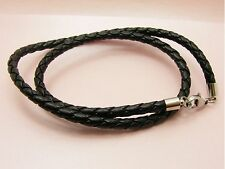 ~Custom Made~STAINLESS STEEL 5mm BRAIDED Synthetic LEATHER Cord Choker NECKLACE