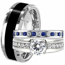 3pcs TITANIUM & STAINLESS STEEL Blue Sapphire CZ His Hers WEDDING BAND RING SET