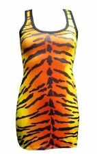 NEW GIRLS / LADIES TIGER ANIMAL PRINT LONG VEST TANK TOP GOTH EMO PUNK NIGHT OUT