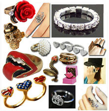 2012 Fashion Rings Modern Rolling Stones Lips Skulls Diamond Crystal Free P&P