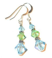 AQUAMARINE & PERIDOT Crystal Earrings Dangle Sterling Silver Swarovski Elements