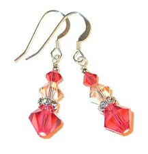 PADPARADSCHA & PEACH Crystal Earrings Sterling Silver Dangle Swarovski Elements