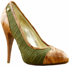 Just Cavalli Brown-Green Jacquard Heel Shoes RRP £304.99 NOW £213.49