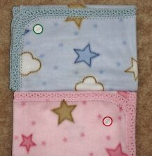 """CRADLE/RECEIVING BLANKET- GOLD PINK/BLUE AND WHITE STARS and CLOUDS / 29"""" x 30"""""""