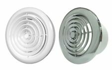 """Internal Ventilation Grille Round CHROME or WHITE Duct Extractor fan 4"""", 5"""", 6"""""""