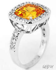 Sterling Silver Cushion Cut Canary Yellow Cubic Zirconia Cocktail Ring