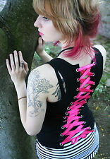 Hot Pink and Black Lace-Up Tank Top shirt corset lacing Folter Clothing S M L XL