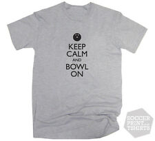 Funny Keep Calm And Bowl On Ten Pin Bowling Ball T-Shirt All Sizes & colours!