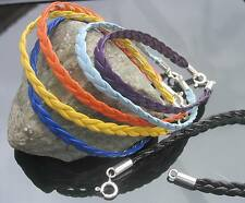 Choose Colours Braided Leather Cord Bracelet with 925 Silver Clasp and End Caps