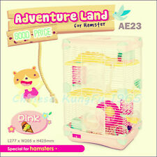 Alice Adventure Land Hamster Gerbil Pet Cage Playhouse 3 level Wheel Tunnel Rope