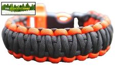 550 PARACORD BUSHCRAFT SURVIVAL BRACELET - Green & Orange with whistle buckle