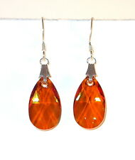 COPPER Crystal EARRINGS Sterling Silver 16mm Pear Drop Dangle Swarovski Elements
