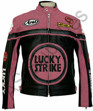 LUCKY STRIKE Ladies Pink Leather Jacket - All Sizes!