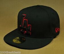 NEW ERA 59FIFTY CAP LOS ANGELES DODGERS LARGER BLACK RED CUSTOM FITTED 5950 HAT