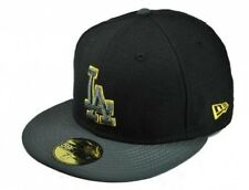 NEW ERA 59FIFTY LOS ANGELES DODGERS BLACK CHARCOAL CUSTOM FITTED MLB BASIC HAT