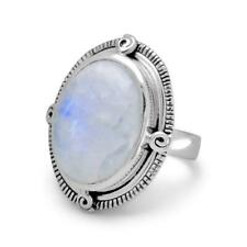 Oxidized Oval Rainbow Moonstone Ring 925 Sterling Silver Rope Edge Large Stone