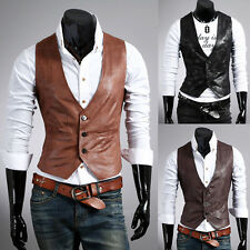3 colors Browns Black Casual Hot V-Neck Men's Vest Slim fit PU Leather Waistcoat