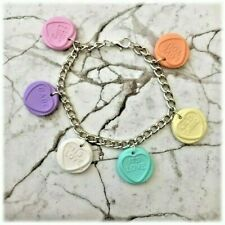 """Kitsch Love Heart Sweet S/Plated Chain Bracelet 7 1/2"""" 4 colours to choose from"""