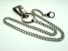STAINLESS STEEL Security BELT CLIP Key Ring CHAIN for Wallet Key / Finder / Bike