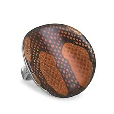 Enamel Snake Skin Pattern Ring 925 Sterling Silver Concave Very Large Round Big