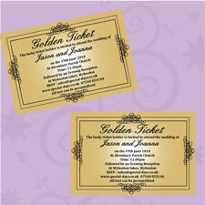 Personalised wedding invitations Day or Evening Willy Wonka Golden Ticket