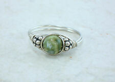 Sterling Silver Rhyolite or Rainforest Jasper Bead Ring