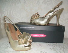 BNIB RRP £69.95 MODA IN PELLE SIZE 3 4 5 6 GOLD LEATHER LAKESIDE SHOES SANDALS