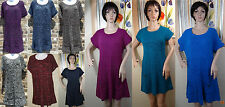 NWT STYLE & CO purple/blue/gray/brown short sleeve knit sweater dress, XS,S,M