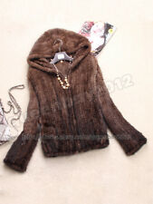 100% Real Knitted Mink Fur Jacket Coat Outwear Hoody Wearcoat Gift Zip Womens