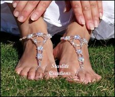 Barefoot Sandals Clear ABx2 Crystals V Style Bridal anklets Foot Jewellery 1pair