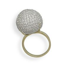 Rhodium Plated Gold Plated Sterling Silver CZ Ball Ring 925 Sterling Silver
