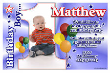 Personalised Boys First 1st Birthday Party PHOTO Invitations Invites ~ N22