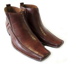 New MENS LEATHER ANKLE BOOTS ZIPPERED COMFORT STRETCH FIT DRESS SHOES / BROWN