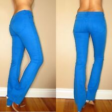 $165 Rich&Skinny Bright Teal Blue Color Slim Boot Straight Jeans X-Long 26 NWT