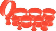 ~ RED ~ SILICONE HOLLOW GAUGES EARLETS FLEXI PLUGS TUNNELS ~CHOOSE GAUGE ~ HOT!!