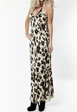 WOMENS NEW LONG MAXI BOHO SEXY LEOPARD LADIE DRESS 8-14