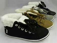 NEW WOMENS LADIES FUR LINED ANKLE FUR COLLAR LACE UP  FLAT SHOES BOOT SIZE 3 - 8